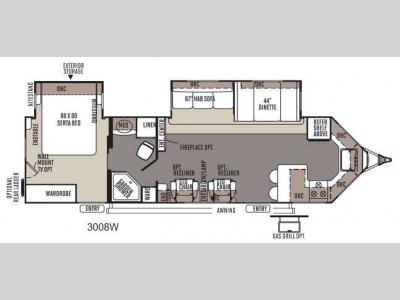 Floorplan - 2014 Forest River RV Rockwood Wind Jammer 3008W