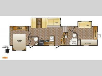 Floorplan - 2014 CrossRoads RV Sunset Trail Reserve SF34BH
