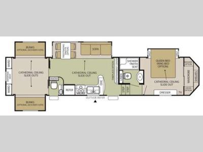 Floorplan - 2014 Forest River RV Cedar Creek Silverback 35QB4
