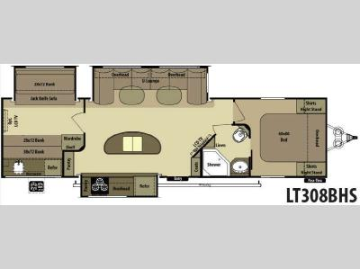 Floorplan - 2014 Open Range RV Light LT308BHS