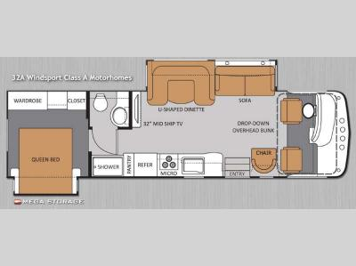 Floorplan - 2014 Thor Motor Coach Windsport 32A