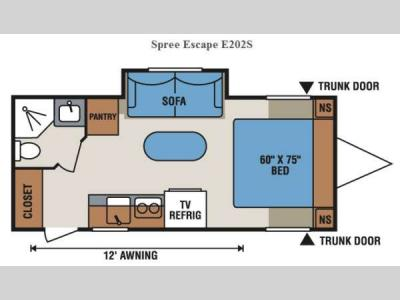Floorplan - 2014 KZ Spree Escape E202S