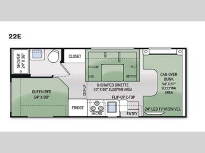 Floorplan - 2015 Thor Motor Coach Four Winds 22E