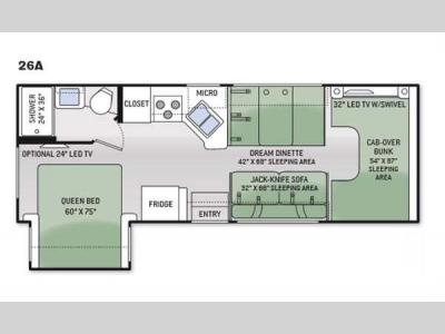 Floorplan - 2015 Thor Motor Coach Four Winds 26A