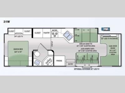 Floorplan - 2015 Thor Motor Coach Four Winds 31W