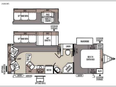 Floorplan - 2015 Forest River RV Flagstaff Super Lite 26RLWS