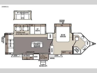 Floorplan - 2015 Forest River RV Flagstaff V-Lite 30WIKSS
