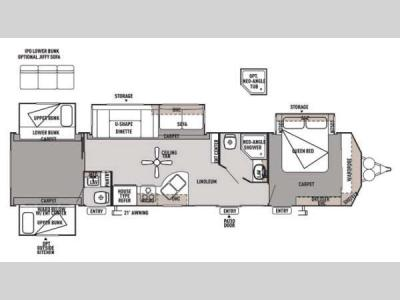 Floorplan - 2014 Forest River RV Wildwood DLX 402QBQ