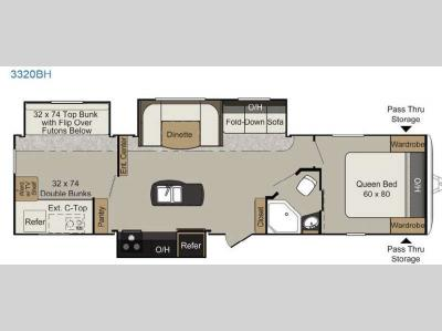 Floorplan - 2015 Keystone RV Passport 3320BH Grand Touring