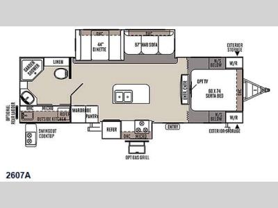 Floorplan - 2015 Forest River RV Rockwood Ultra Lite 2607