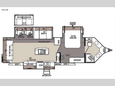 Floorplan - 2015 Forest River RV Rockwood Wind Jammer 3025W