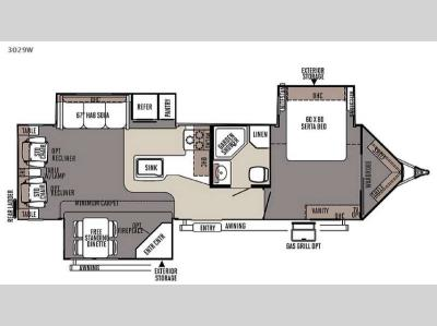 Floorplan - 2015 Forest River RV Rockwood Wind Jammer 3029W
