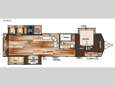 Floorplan - 2015 Forest River RV Salem Villa Series 407REDS Estate