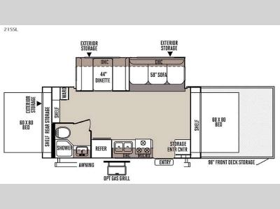 Floorplan - 2015 Forest River RV Rockwood Roo 21SSL
