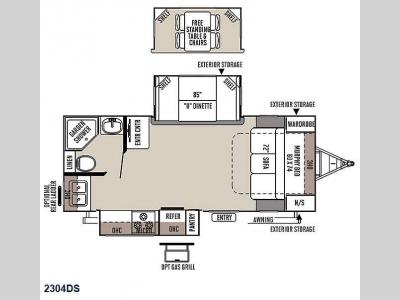 Floorplan - 2015 Forest River RV Rockwood Ultra Lite 2304DS