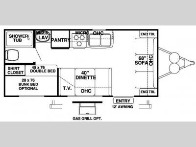 Floorplan - 2007 Forest River RV Wildwood LE 19BH