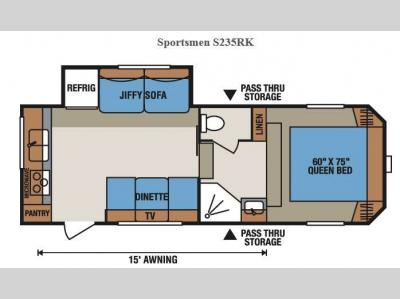 Floorplan - 2016 KZ Sportsmen S235RK