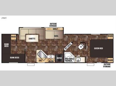 Floorplan - 2016 Forest River RV Cherokee Grey Wolf 29VT