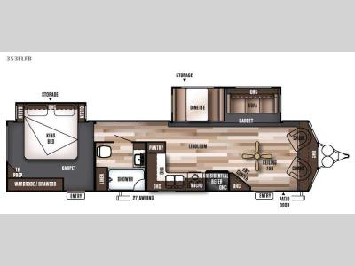 Floorplan - 2016 Forest River RV Wildwood DLX 353FLFB