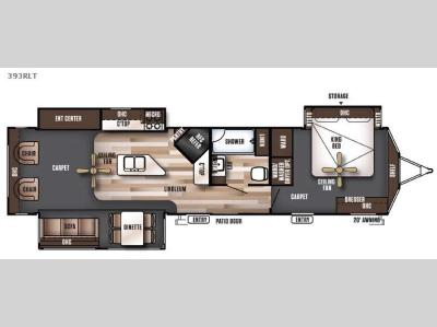 Floorplan - 2016 Forest River RV Wildwood Lodge 393RLT