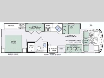 Floorplan - 2016 Thor Motor Coach Windsport 34J