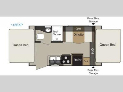 Floorplan - 2016 Keystone RV Passport 145EXP