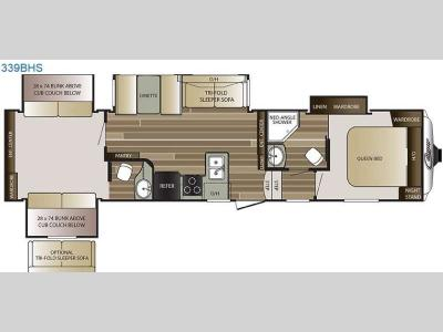 Floorplan - 2016 Keystone RV Cougar 339BHS