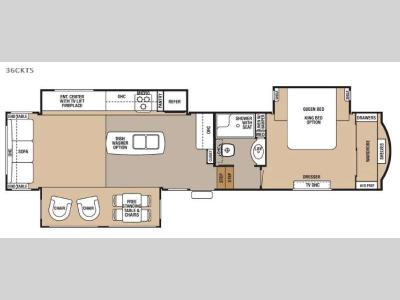 Floorplan - 2016 Forest River RV Cedar Creek 36CKTS