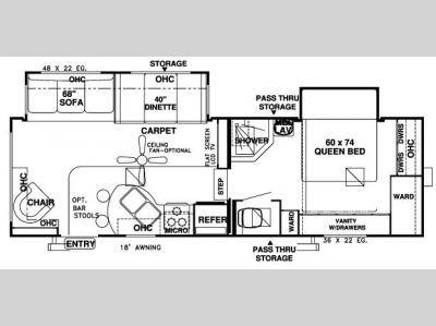 Floorplan - 2007 Forest River RV Wildwood LA 246RLBS