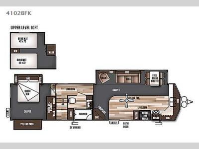Floorplan - 2016 Forest River RV Wildwood Lodge 4102BFK