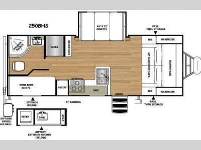Floorplan - 2016 Forest River RV Vibe Extreme Lite 250BHS
