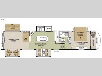 Floorplan - 2016 Forest River RV Cedar Creek Silverback 37RL