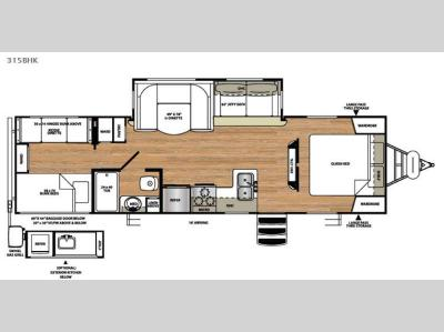 Floorplan - 2016 Forest River RV Vibe Extreme Lite 315BHK