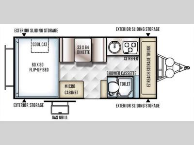 Floorplan - 2016 Forest River RV Rockwood Hard Side High Wall Series 214HW