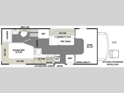 Floorplan - 2017 Coachmen RV Freelander 20CB  Ford Transit