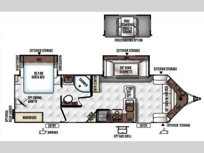 Floorplan - 2017 Forest River RV Flagstaff Super Lite 28VRBS