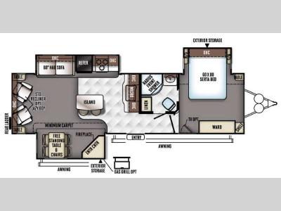 Floorplan - 2017 Forest River RV Rockwood Signature Ultra Lite 8329SS