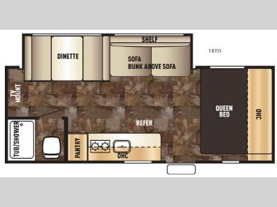 Floorplan - 2017 Forest River RV Cherokee Wolf Pup 18TO