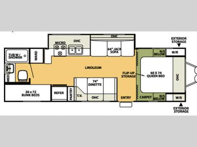 Floorplan - 2007 Forest River RV Flagstaff 26BHSS