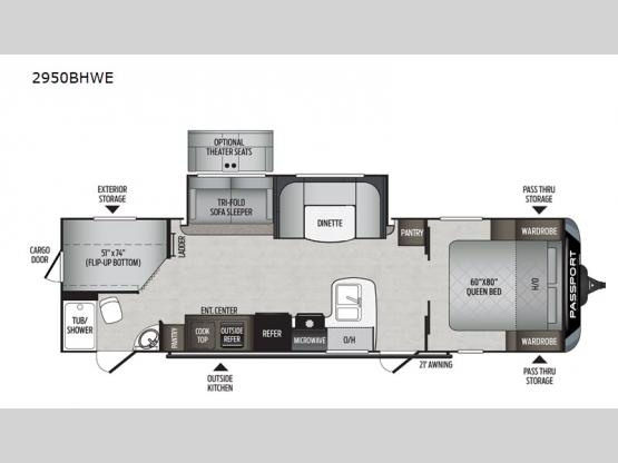 Passport 2950BHWE GT Series Floorplan Image