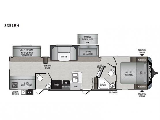 Passport 3351BH GT Series Floorplan Image
