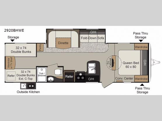Passport 2920BHWE Grand Touring Floorplan Image
