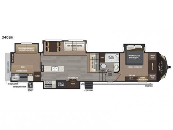 Montana High Country 340BH Floorplan Image