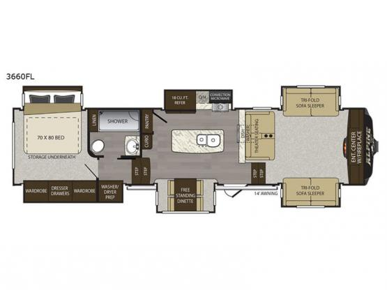 Alpine 3660FL Floorplan Image