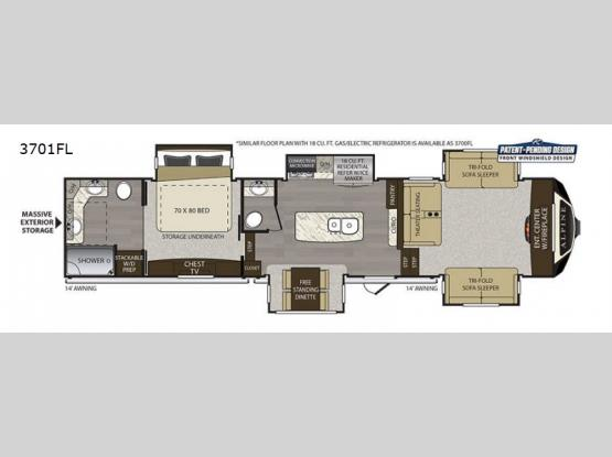 Alpine 3701FL Floorplan Image