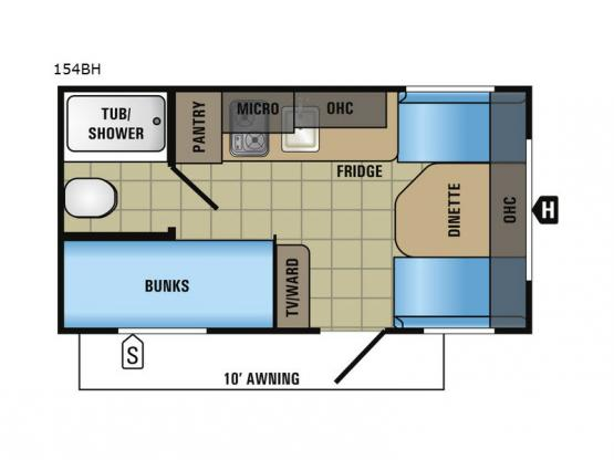 Jay Flight SLX 154BH Floorplan Image