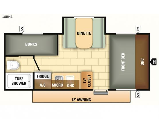 Autumn Ridge Outfitter 18BHS Floorplan Image
