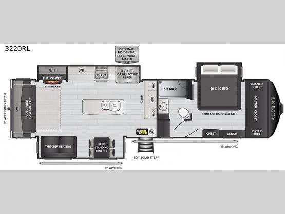 Alpine 3220RL Floorplan Image