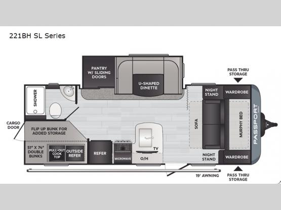Passport 221BH SL Series Floorplan Image