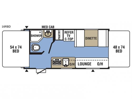 Clipper Ultra-Lite 16RBD Floorplan Image
